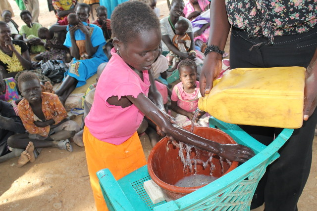 Drop in the Bucket teaching handwashing in South Sudan